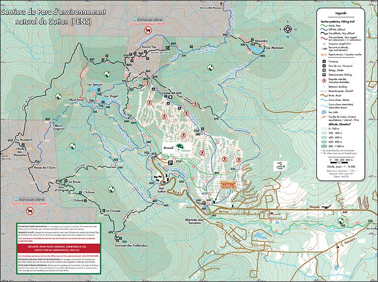 Trail Map   Parc d'environnement naturel de Sutton on
